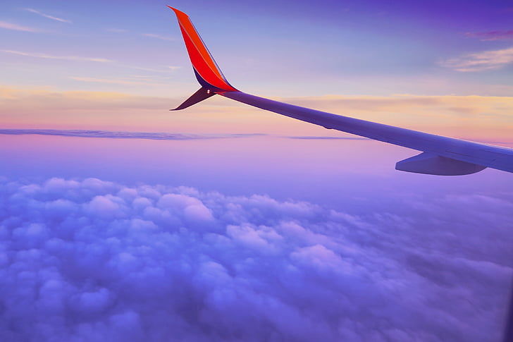 vida, bellesa, escena, cel, avió, núvols, avió