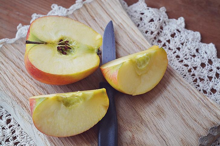 obuolių, Bio obuolių, sumažinti, pjaustytų obuolių, vaisių, natūralus produktas, pjaustymo lenta