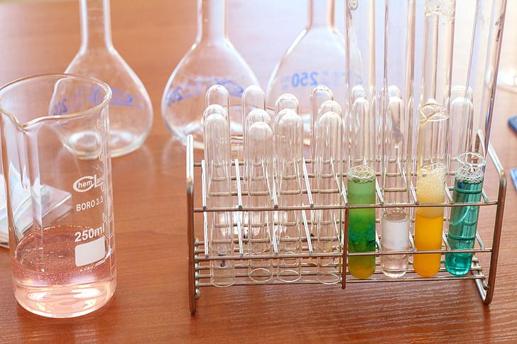 ห้องปฏิบัติการ, เคมี, วิชา, สารเคมี, ขวด, ตอบสนอง, สารประกอบ