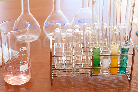 laboratoř, chemii, předměty, chemická látka, láhev, reagovat, sloučeniny