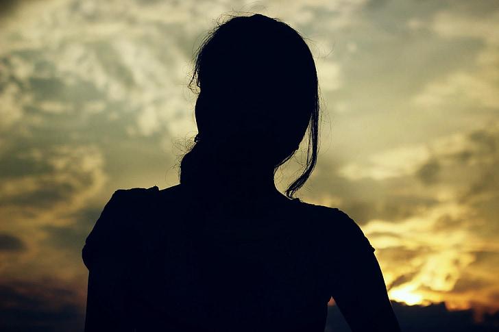 Moterys, Saulėlydis, siluetas, tamsus, Juoda, Saulė, šiltas