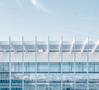 arquitectura, edifici, contemporani, futurista, vidre, moderna, Perspectiva