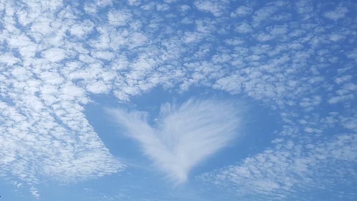 núvols, ennuvolat, cel, inusual, forma del cor