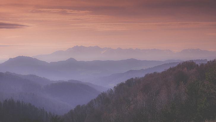 bergen, landskap, solen, soluppgång, dimma, dimmiga, resor