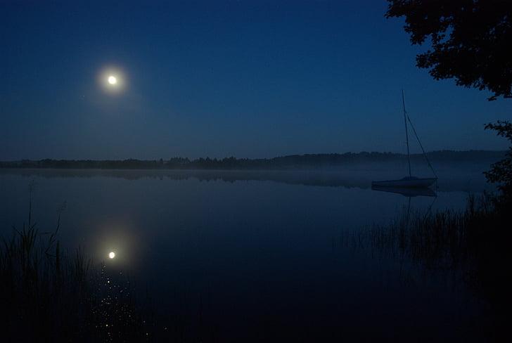 vaixell, Lluna, nit, Polònia, natura, tranquil, paisatge