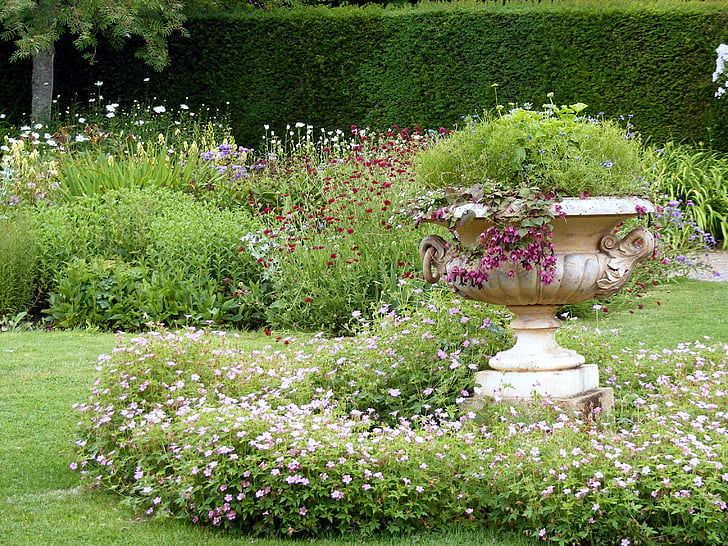 garden, urn, ornamental, decorative, outdoor, hedge, grass