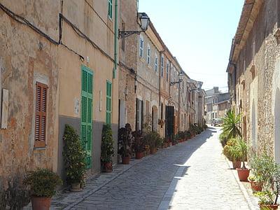 közúti, ENG, utca-és városrészlet, falu utcáján, Lakások, óváros, City view