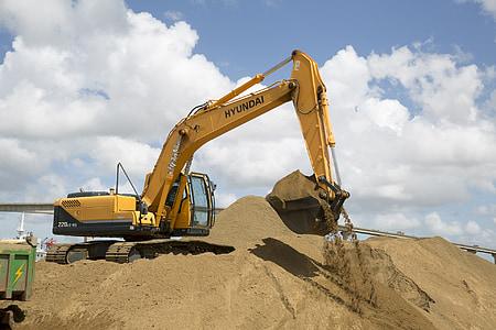 kaivaminen, Power lapio, Kaivinkone, Sand, Digger, rakennustyömaalla