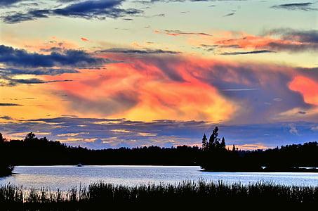solnedgång, kvällen, Twilight, Sky, sjön, moln, Québec