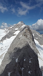 felmásznak, Ridge, rock ridge, Zugspitze-hegység, hegyek, alpesi, Időjárás kő
