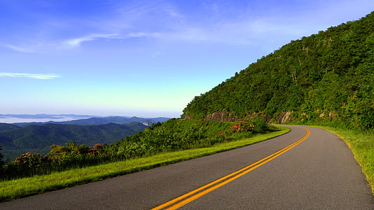 asfaltu, wsi, trawa, zielony, autostrady, wzgórze, krajobraz