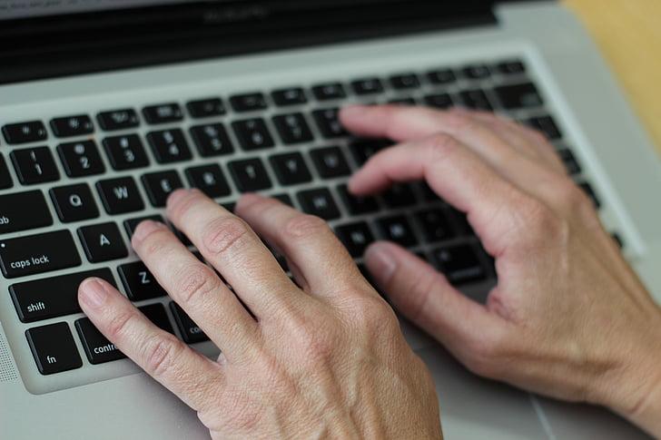 hands on keyboard, keyboard, computing, typing, laptop, wireless technology, technology
