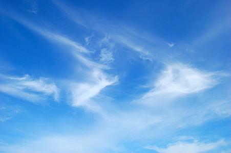 błękitne niebo, chmury, niebo, niebieski, federwolke, jasne, piękne