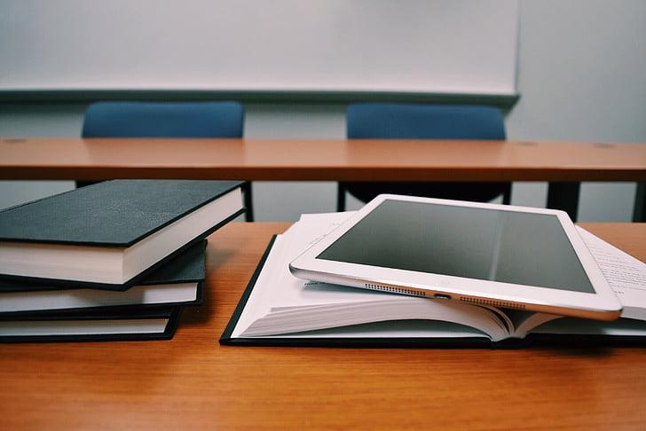 tablet, books, education, desk, classroom, school, book