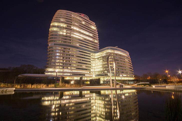 building, high-rise, hotel, lights, night