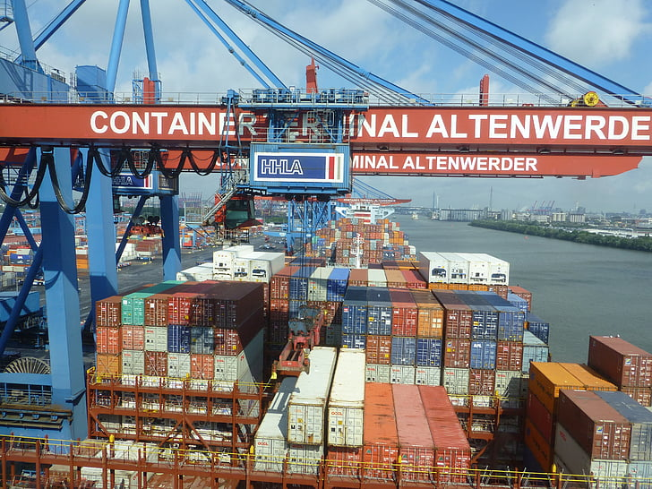 集装箱, 集装箱龙门起重机, 汉堡, 装载起重机, 集装箱起重机, 搬运货物, 集装箱船