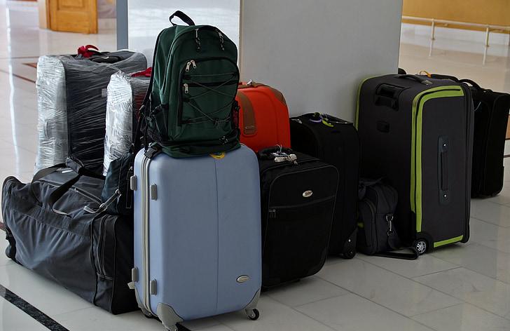 kufr, zavazadlo, cestování, zabaleno, kufr, taška, cesta