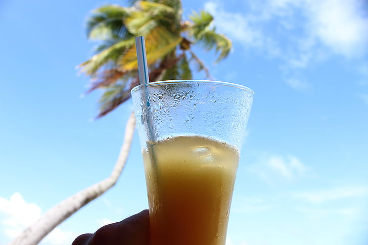 Palma, beguda, refresc, palla, cel, núvols, begudes