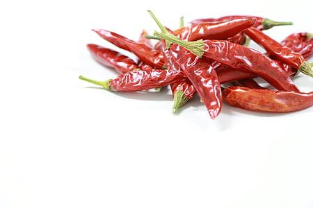 čili papričky, červená, pikantné, sušenie