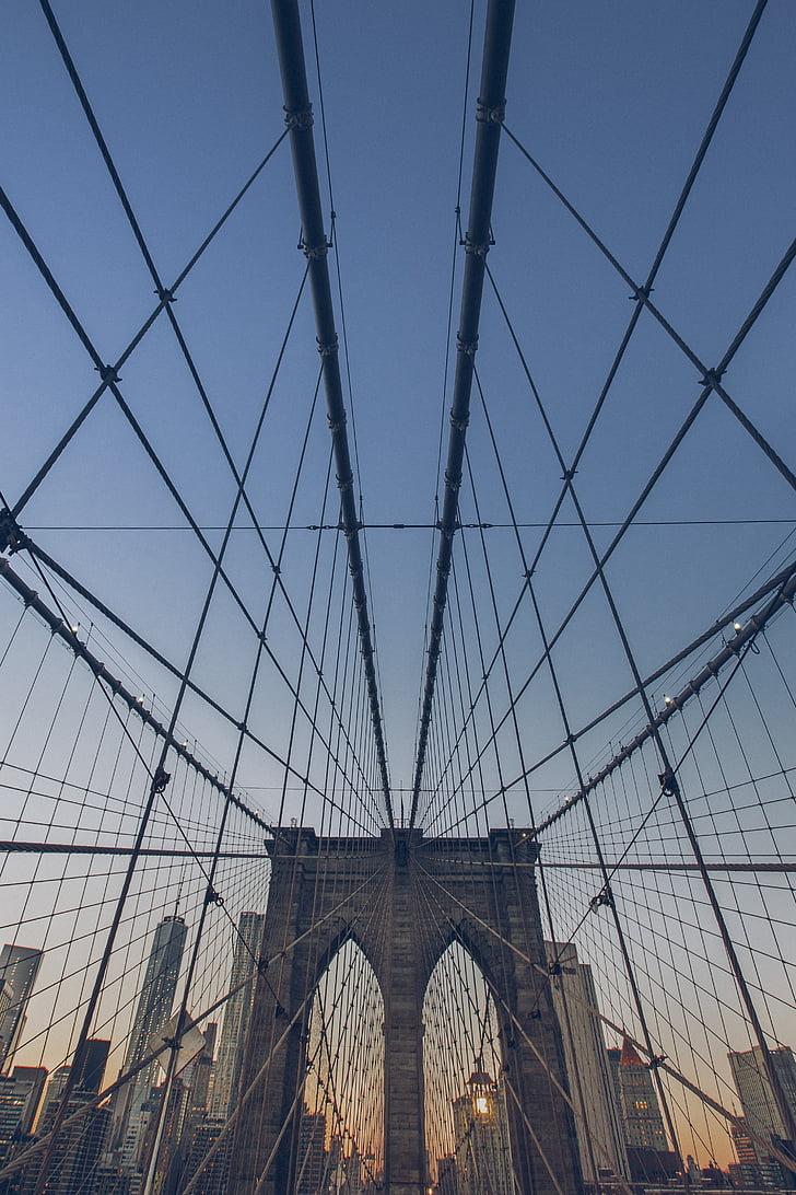 architecture, bridge, cables, perspective, suspension bridge, new York City, brooklyn Bridge