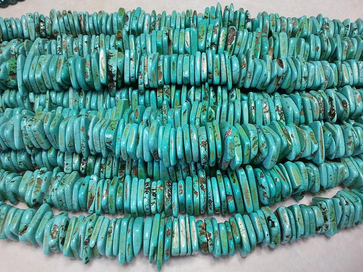 kralen, turkoois, ketting, sieraden, handgemaakte, reeksen van kralen, sieraden