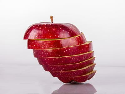 jabuka, Objekt, narezane jabuke, Crveni, ideja, kreativnost, boja