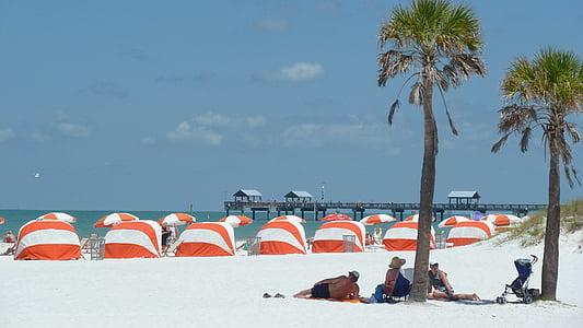 Beach, hiekkaranta, Holiday, Sea, Cabanas, Palms