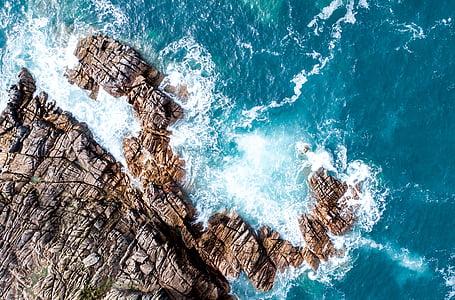 zee, Oceaan, water, golven, natuur, rotsen, Luchtfoto