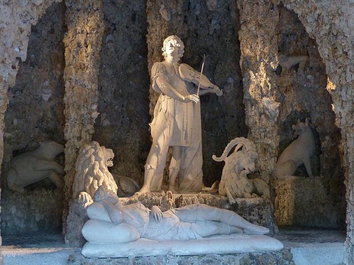 orpheus cave, grotto, orpheus, greek mythology, mythology, stone figure, man