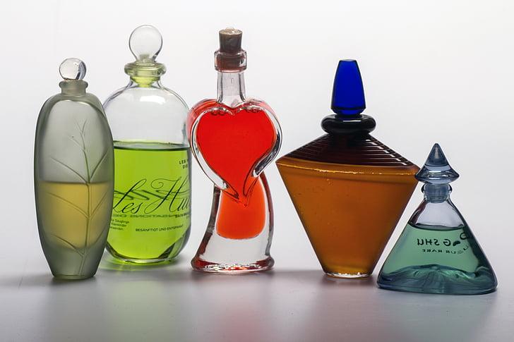 Zátiší, parfém, láhve, flakony, láhev, kapalina