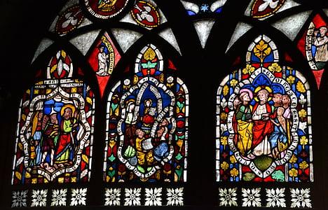 Gebrandschilderd glas, venster, kerk, kerk venster, het platform, Glasraam, glazen raam