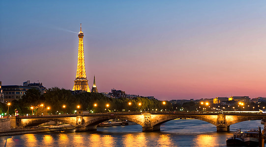 Torre Eiffel, França, posta de sol, ciutat a la nit, nit, ciutat, Europa