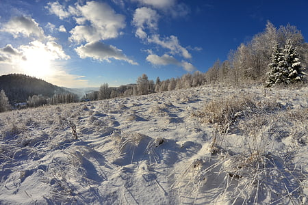 first snow, winter in the mountains, krynica mountain, krynica, winter landscape, fairy-tale winter, winter