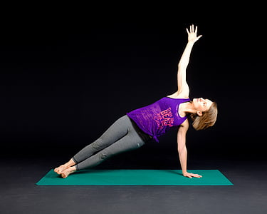 planche, remise en forme, musculaire, exercice de, jeune fille, forme, forte