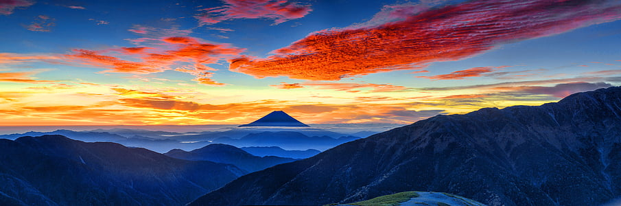 paisagem panorâmica, brilho da manhã, Monte fuji, nuvem vermelha, Alpes do Sul, Outubro, Japão