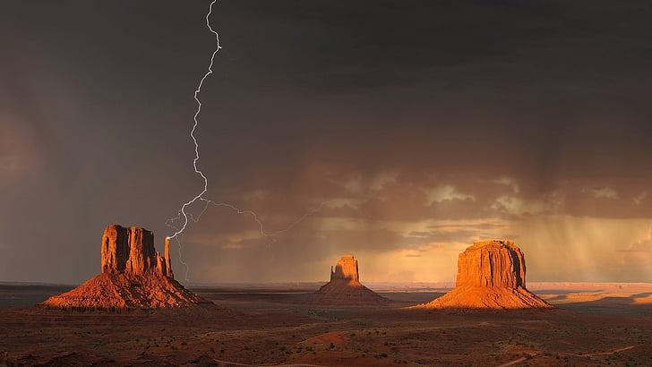 monument valley, lightning, storm, rain, weather, clouds, sandstone