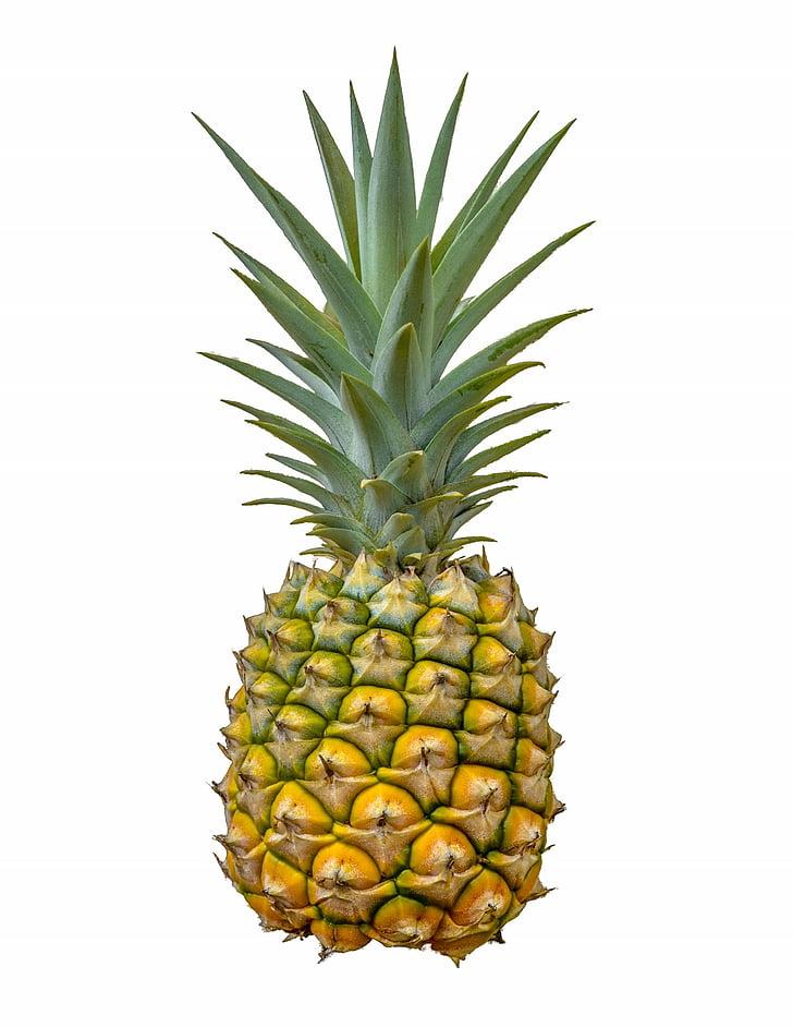 菠萝, 水果, 白色背景, 食品, 健康, 饮食, 新鲜