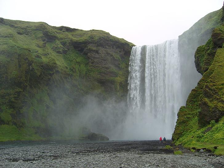 Izland, vízesés, táj, természet, hatalmas, lenyűgöző, erő a természet