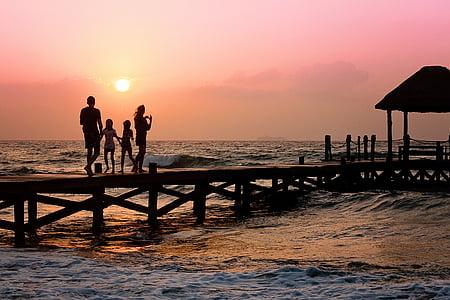 beach, children, family, ocean, people, pier, sea