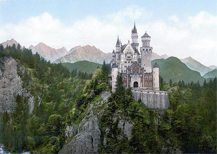 neuschwanstein, castle, bavaria, baroque, nineteenth-century, romanesque revival, palace