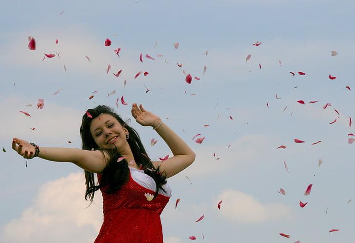 girl, petals, flight, red, joy