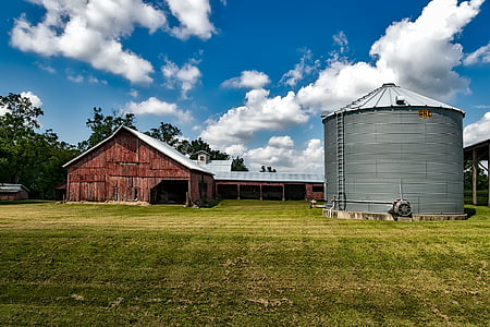 architecture, barn, building, clouds, countryside, farm, field