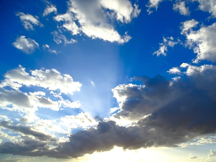 Sky, moln, blå, White cloud, grå moln