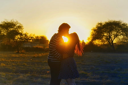 kissing couple, romance, sunset, couple, love, kiss, man