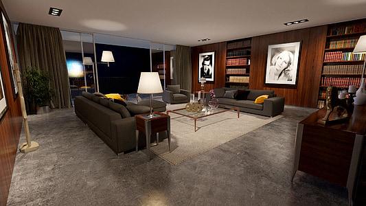 sala, Apartament, disseny d'interiors, disseny, moderna, luxe, Habitació interior