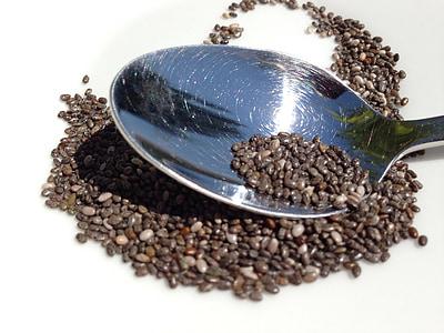 Chia, Σπόροι, Σπόροι Chia, κουτάλι, μούσλι, Grains (Κόκκοι), σιτάρι