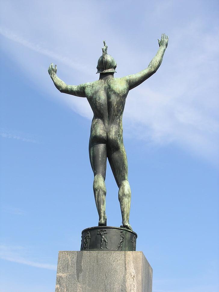 nu, estàtua, home despullat, escultura, bronze, Estocolm, Suècia