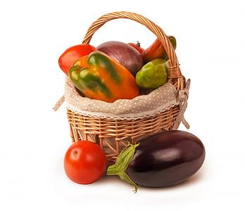 izolēta, kopā, dārzeņi, grozs, Baklažāni, pipari, rudens