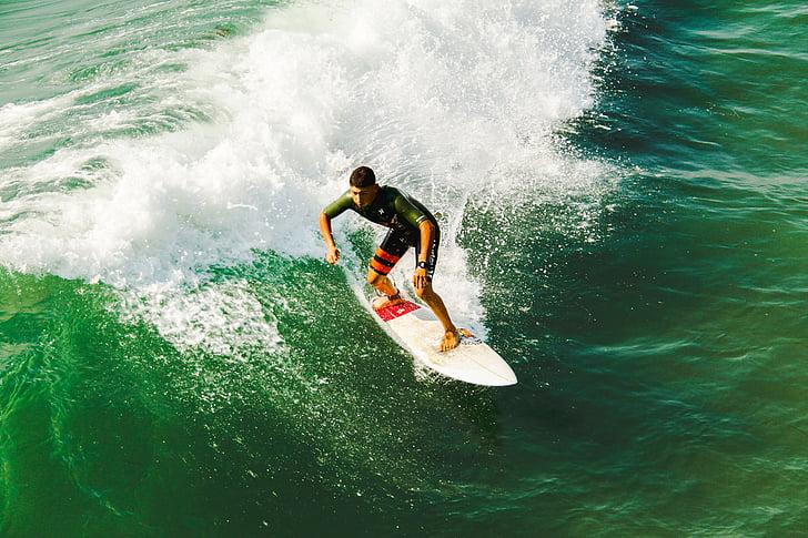 home, portava, verd, camisa, surf, diürna, oceà