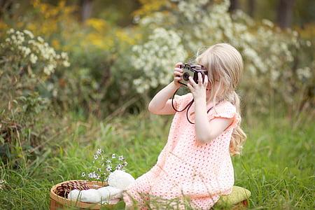 basket, camera, child, dainty, fasion, girl, grass